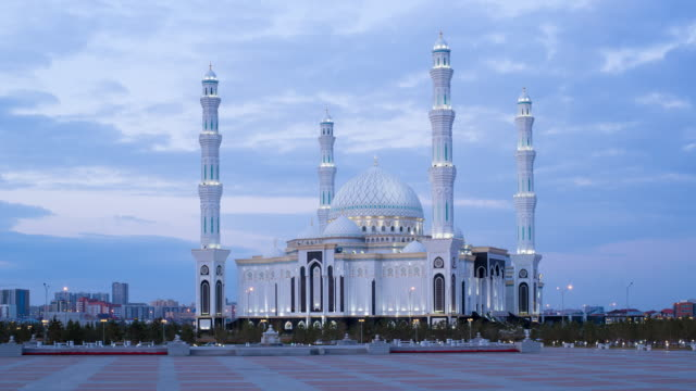 central asia, kazakhstan, astana, hazrat sultan mosque, the largest in central asia,  at dusk - kazakhstan stock videos and b-roll footage