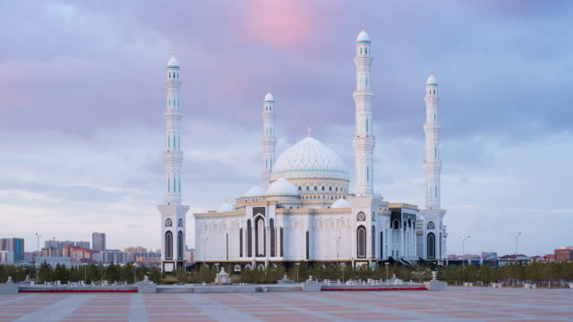 Central Asia, Kazakhstan, Astana, Hazrat Sultan Mosque, the largest in Central Asia,  at dusk - Time lapse