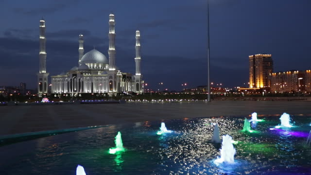 Central Asia, Kazakhstan, Astana, Hazrat Sultan Mosque, the largest in Central Asia,  at dusk