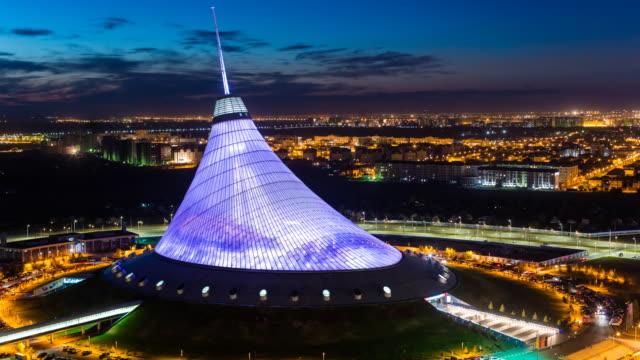 central asia, kazakhstan, astana, night view over khan shatyr entertainment center - kazakhstan stock videos & royalty-free footage