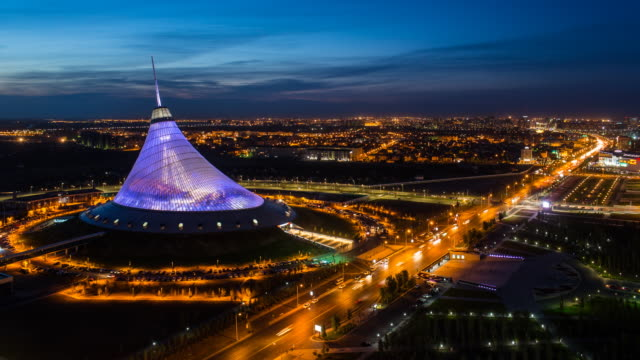 central asia, kazakhstan, astana, night view over khan shatyr entertainment center - kazakhstan stock videos and b-roll footage