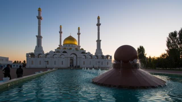 central asia, kazakhstan, astana, nur astana mosque at dusk - kazakhstan stock videos and b-roll footage