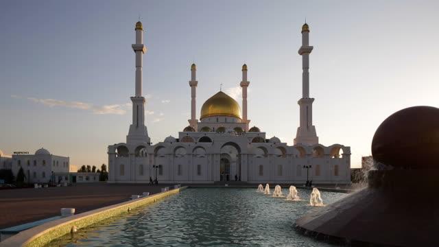 Central Asia, Kazakhstan, Astana, Nur Astana Mosque at dusk