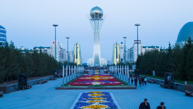 central asia, kazakhstan, astana, nurzhol bulvar - central boulevard and  bayterek tower - kazakhstan stock videos and b-roll footage