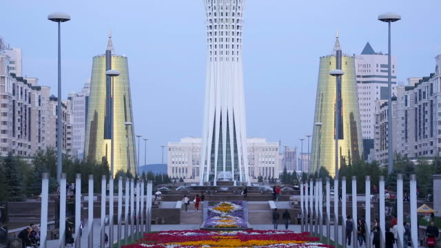 Central Asia, Kazakhstan, Astana, Nurzhol Bulvar - Central Boulevard and Bayterek Tower