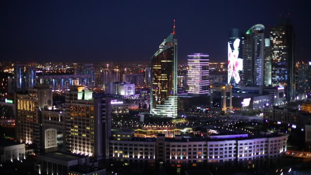 Central Asia, Kazakhstan, Astana, the city center and central business district at dusk