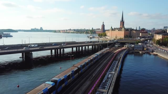 central bridge, stockholm, drone view - station stock videos & royalty-free footage