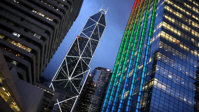 vídeos de stock, filmes e b-roll de central business and financial district, bank of china building, hong kong island, china - torre bank of china hong kong