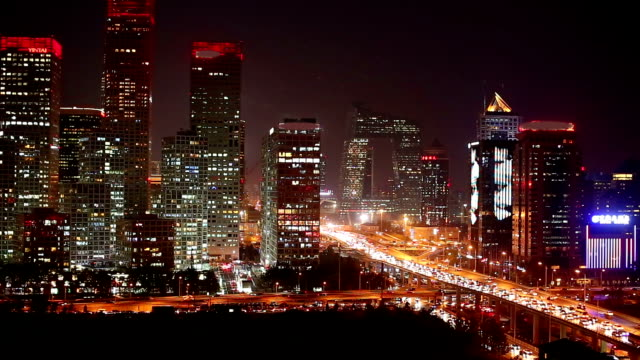 central business district, elevated view of traffic in beijing, china. - lockdown video stock e b–roll