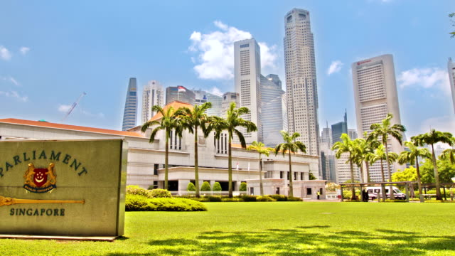 central business district in singapore - parliament building stock videos & royalty-free footage