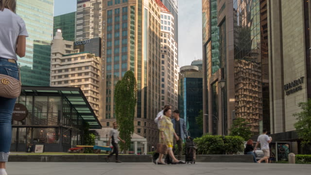 central business district raffles quay - raffles city stock videos & royalty-free footage