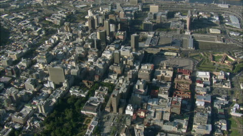 aerial central cape town with parliament building, cape town, western cape, south africa - parliament building stock videos & royalty-free footage