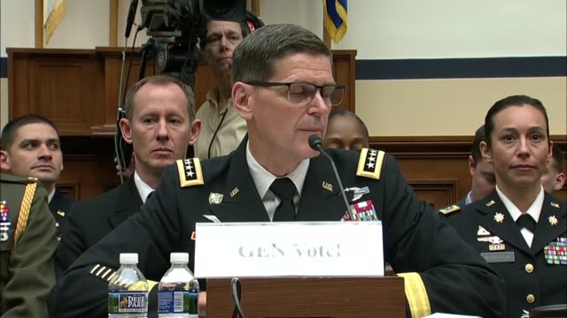 US Central Command General Joseph Votel answers a question at an oversight hearing with the House Armed Services Committee regarding the perceived...