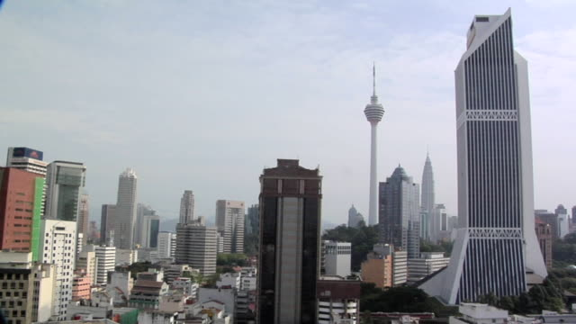 ws central district and skyline of kuala lumpur with menara kuala lumpur tower and petronas towers / kuala lumpur, malaysia - menara kuala lumpur tower stock videos & royalty-free footage