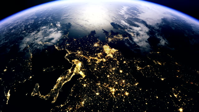 central europe from space - satellite stock videos & royalty-free footage