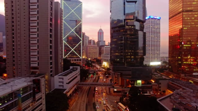 Coucher du soleil central Hong Kong par Drone