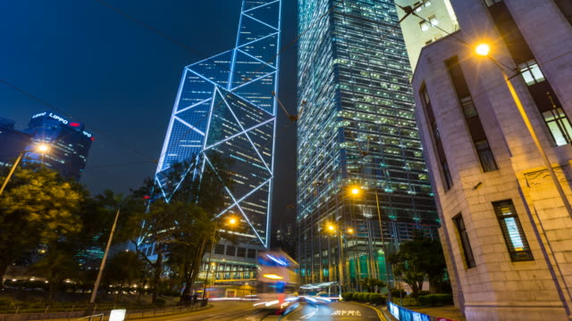 tl zo central hongkong traffic at night - central district hong kong stock videos & royalty-free footage