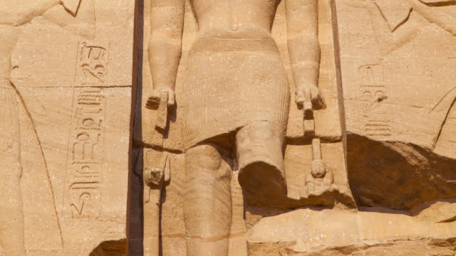 Central, inset statue of Ra-Horakhy at the Great Temple of Abu Simbel, Nile Valley, Egypt