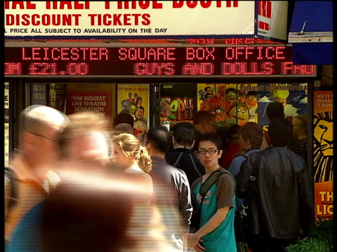 central london car bombs; ext tourists gathered outwside leicester square box office tourists along - ticket counter stock videos & royalty-free footage