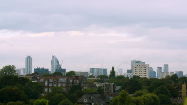 ws central london skyline on cloudy day - skyline stock videos & royalty-free footage