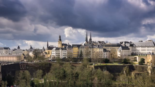 central luxembourg city on an overcast day - time lapse - luxembourg benelux stock videos & royalty-free footage