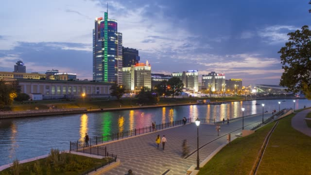 central minsk city skyline, trinity district and the river svishlach, belarus - time lapse - belarus stock videos & royalty-free footage