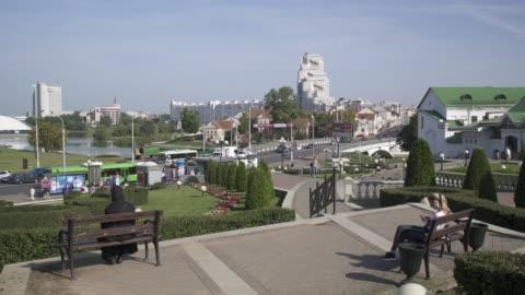 vídeos y material grabado en eventos de stock de central minsk, trinity district and the river svishlach, belarus - bielorrusia