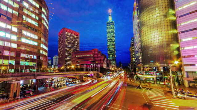 central of taipei city from day to night - taipei 101 stock videos and b-roll footage