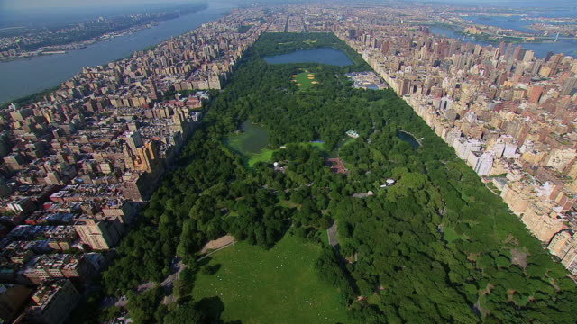 aerial central park and boardering neighborhoods / new york, new york, united states - bロール点の映像素材/bロール