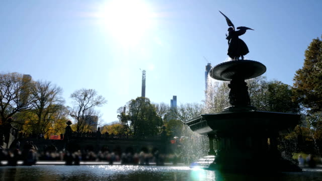 central park bethesda fountain in central park in new york - fountain stock videos & royalty-free footage
