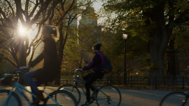 Central Park bicycles at sunset New York City