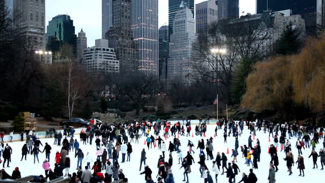 central park ice skating - ice skating stock videos and b-roll footage