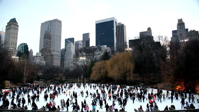central park ice skating - ice rink stock videos & royalty-free footage