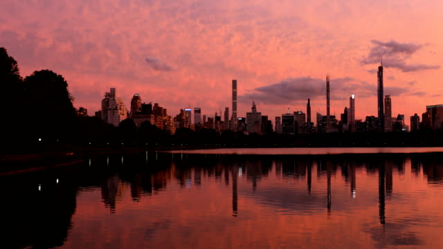 central park reservoir sunset - central park reservoir stock videos and b-roll footage