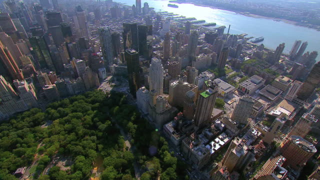 aerial central park south and the buildings of manhattan / new york city, new york, united states - columbus circle stock videos & royalty-free footage