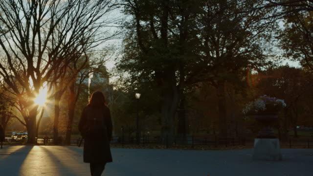 vídeos y material grabado en eventos de stock de central park toma panorámica al atardecer de la ciudad de nueva york - mancha solar