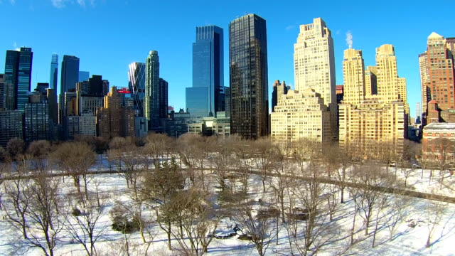 central park winter aerials - columbus circle stock videos & royalty-free footage