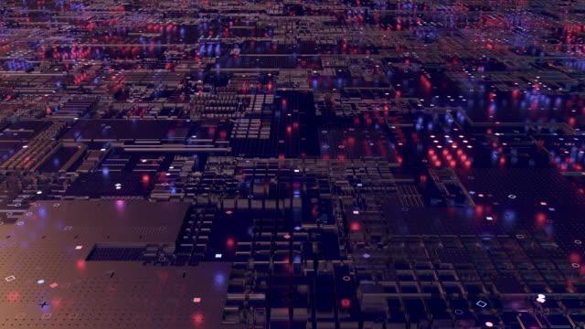 eine zentrale verarbeitungseinheit (cpu). 3d rendering futuristische leiterplatte hintergrund - software stock-videos und b-roll-filmmaterial