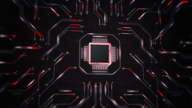 4k cpu central processor unit chipset on the printed circuit board for electronic and technology concept select focus shallow depth of field (loopable) - black background stock videos & royalty-free footage