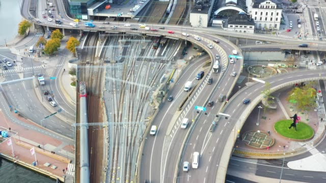 central stockholm highway and railway train seen from above - stockholm stock videos & royalty-free footage