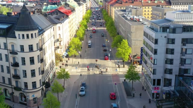 central stockholm seen from above, gotgatan - pedestrian stock videos & royalty-free footage
