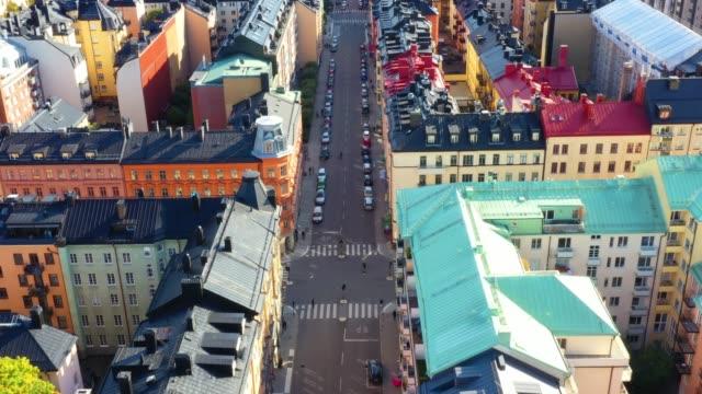 stockvideo's en b-roll-footage met centraal stockholm gezien van bovenaf, typische daken - stockholm