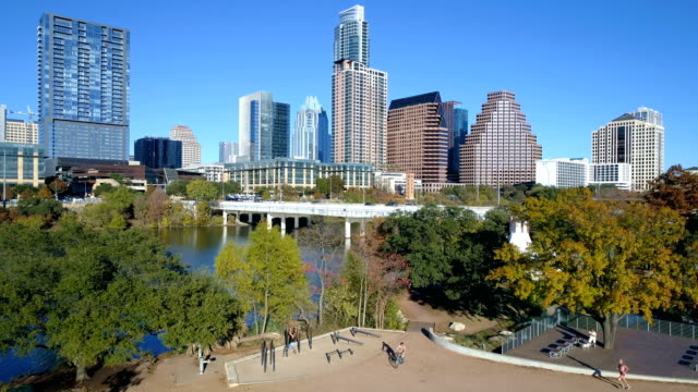central texas paradise in the public park austin , texas sunny days in fall autumn winter collection - downtown district stock videos & royalty-free footage