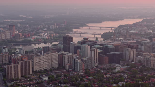 aerial centretown ottawa with ottawa river in the morning light - parliament hill stock videos & royalty-free footage