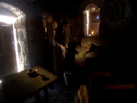 a centurion's servant lies ill. - religiöse darstellung stock-videos und b-roll-filmmaterial