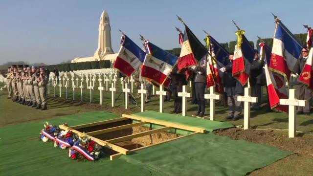 century after the battle of verdun a french soldier who was left behind on the battlefield gets a proper burial after being identified by dna samples... - ww1 battle stock videos & royalty-free footage