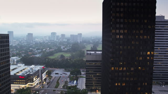 Century City Mall and Los Angeles Country Club on Hazy Evening - Drone Shot