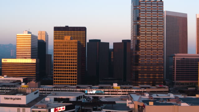 century city skyline - aerial drone shot - century city stock-videos und b-roll-filmmaterial