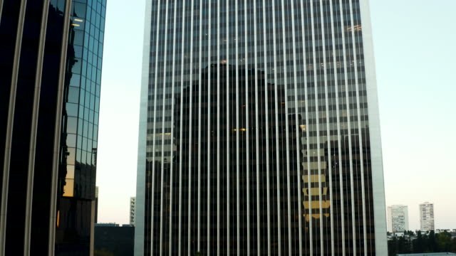century city skyscraper -  aerial drone shot - century city stock videos & royalty-free footage