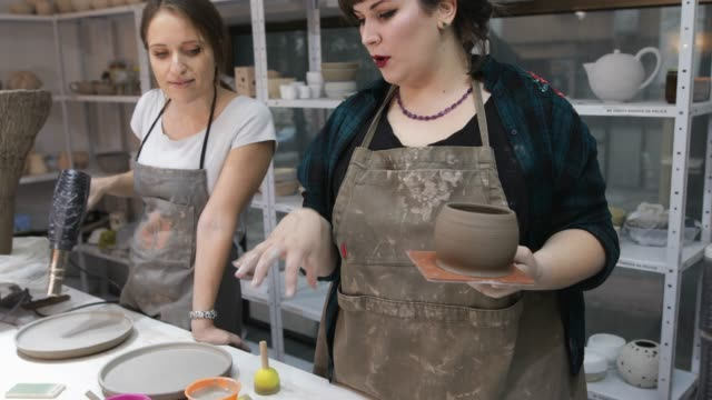 ceramic workshop - apron stock videos & royalty-free footage